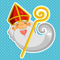 Cartoon sinterklaas st nicholas over dotted background Stock Photos