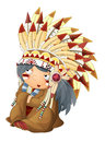 Cartoon sitting indian chief character - isolated