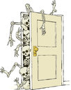 Cartoon skeletons in the closet Royalty Free Stock Photo