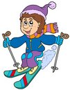 Cartoon skiing boy Royalty Free Stock Photos