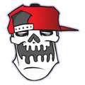 Cartoon skull in baseball cap. Isolated on white background