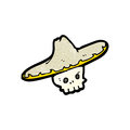 Cartoon skull in mexican hat retro with texture isolated on white Royalty Free Stock Images