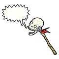 Cartoon skull on spear Royalty Free Stock Images