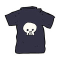 Cartoon skull tee hand drawn illustration in retro style vector available Stock Photos