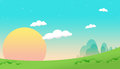 Cartoon sky style landscape background with sun and clouds Stock Image