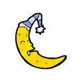 Cartoon sleeping moon Stock Images