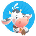 Cartoon sleepy baby cow thinking icon in a blue background Royalty Free Stock Image