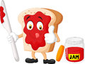 Cartoon slice of bread with jam giving thumbs up Royalty Free Stock Photo