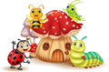 Cartoon small insect with mushroom house