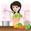 Cartoon smart girl cooking vegetarian soup in kitchen