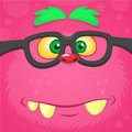 Cartoon smart monster face wearing glasses. Halloween vector illustration of furry pink monster.