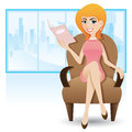 Cartoon smart woman sitting on sofa and reading magazine Royalty Free Stock Photo