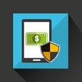 cartoon smartphone bill cash money safe protection icon