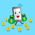 Cartoon smartphone carrying money bags and walking with money coins