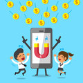 Cartoon smartphone using magnet icon to attracts money coins