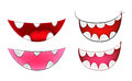 Cartoon smile, mouth, lips with teeth set. vector mesh illustration  on white background Royalty Free Stock Photo