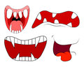 Cartoon smile, mouth, lips with teeth and tongue set. vector illustration on white background