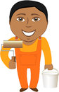 Cartoon smile professional painter Stock Photo
