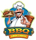 A cartoon smiled mustached cook chef character holding a kebab and grilled meat and doing a perfect gesture, vector cartoon charac Royalty Free Stock Photo