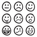 Cartoon Smiley Faces Doodles Royalty Free Stock Photo