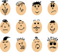 Cartoon smiley faces an icon set of Royalty Free Stock Photos