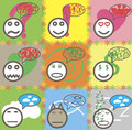 Cartoon smiley seamless texture Faces Doodles. Royalty Free Stock Photo