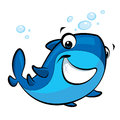 Cartoon smiling baby shark happy blue with a cute smile Stock Images