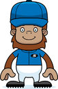 Cartoon smiling baseball player sasquatch a Royalty Free Stock Image