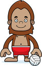 Cartoon smiling beach volleyball player sasquatch a Royalty Free Stock Image