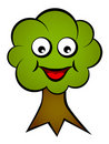 Cartoon smiling face tree Royalty Free Stock Images