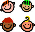 Cartoon smiling faces a set of four simple happy Stock Image