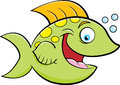 Cartoon smiling fish blowing bubbles. Royalty Free Stock Photo
