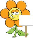 Cartoon smiling flower holding a sign. Royalty Free Stock Photo
