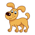 Cartoon smiling golden puppy cute funny naughty dog vector illustration of standing Stock Images