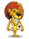 Cartoon smiling lion Stock Photos