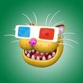 Cartoon smiling orange cat head in 3d glasses. 3D illustration.