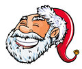 Cartoon smiling santa head isolated on white Royalty Free Stock Photo