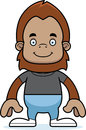 Cartoon smiling sasquatch a brown Royalty Free Stock Image