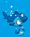 Cartoon smiling shark family happy blue baby with his parent Royalty Free Stock Photo