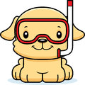 Cartoon smiling snorkeler puppy a Royalty Free Stock Photography