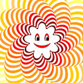 Cartoon smiling sun. Colorful striped twisting bac Royalty Free Stock Photos