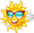 Cartoon smiling sun giving thumb up Royalty Free Stock Photo