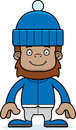 Cartoon smiling winter sasquatch a Royalty Free Stock Image
