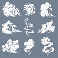 Cartoon smoke. Smoking steam clouds smells bad expired fire gas flash vapour aroma puff mist fog effects game shot