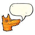 Cartoon smug fox face with speech bubble Stock Image