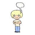 Cartoon smug looking man with speech bubble Stock Image