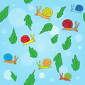 Cartoon snail and leaves seamless pattern blue background Stock Photos