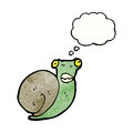 Cartoon snail with thought balloon Stock Images