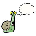 Cartoon snail with thought balloon Royalty Free Stock Photography