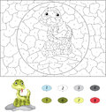 Cartoon snake. Color by number educational game for kids Royalty Free Stock Photo